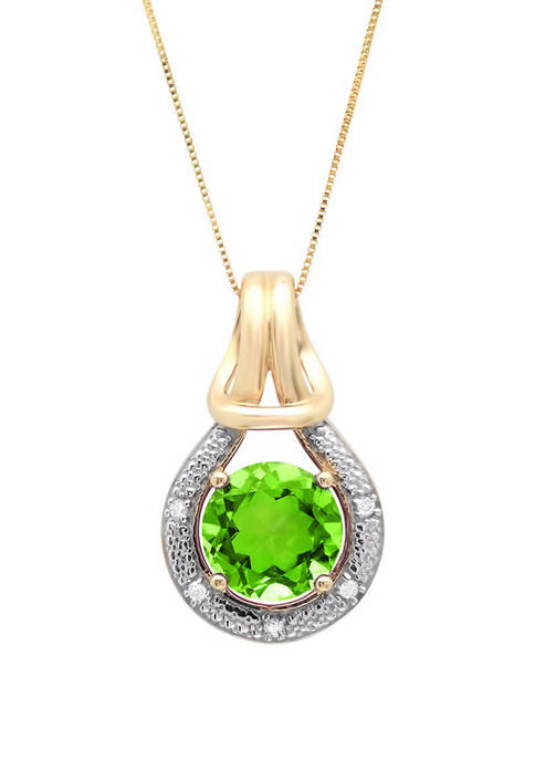 10K Yellow Gold Peridot with Diamond Accent Love Knot Pendant