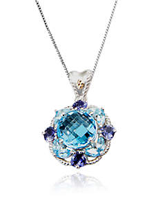 Sterling Silver Blue Topaz and Iolite Pendant