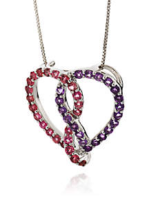 Silver Multi Gemstone Heart Pendant