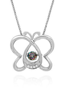 Sterling Silver Moving Mystic Topaz and Diamond Butterfly Pendant