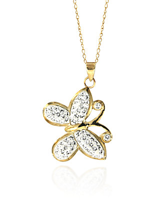 386b13a33fcb0 Swarovski Crystal Butterfly Pendant in 10k Yellow Gold
