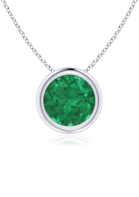 Bezel Set Created Emerald Pendant Necklace in 14k White Gold