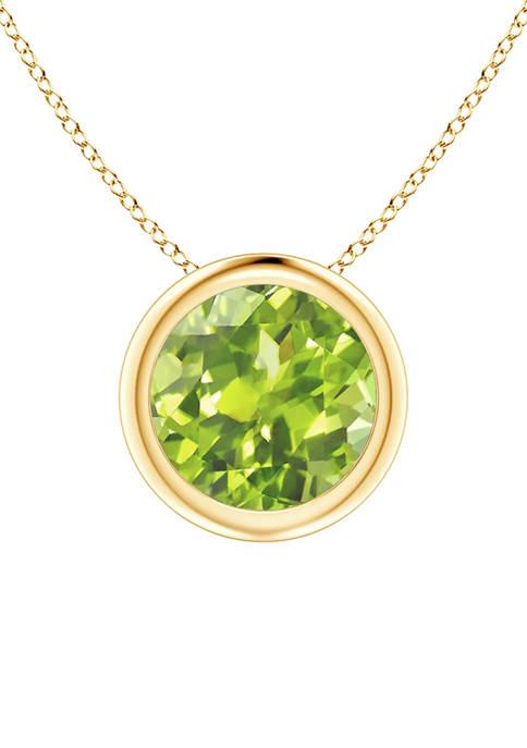 Bezel Set 1 ct. t.w. Peridot Pendant Necklace in 14K Yellow Gold (7 Millimeter), 18 Inch
