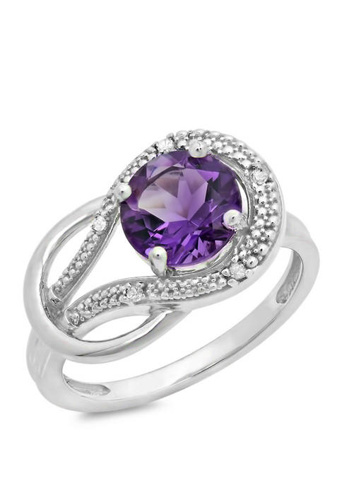 10K White Gold Amethyst and 1.7 ct. t.w. Diamond Accent Ring