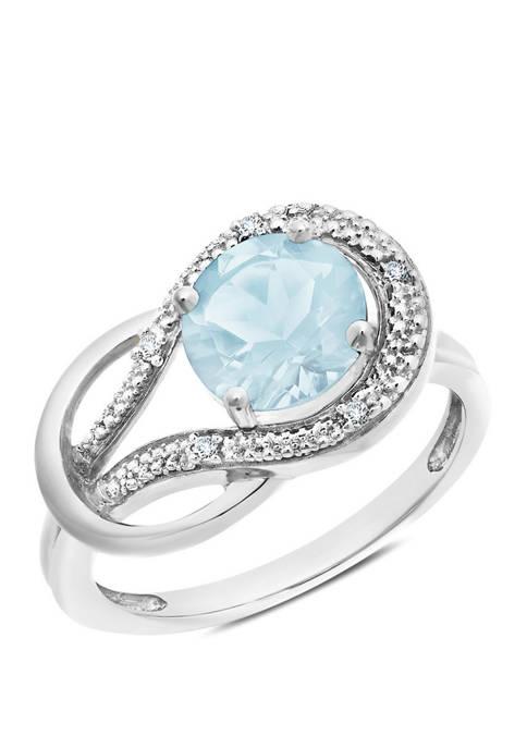 10K White Gold Aquamarine and 1.7 ct. t.w. Diamond Accent Ring