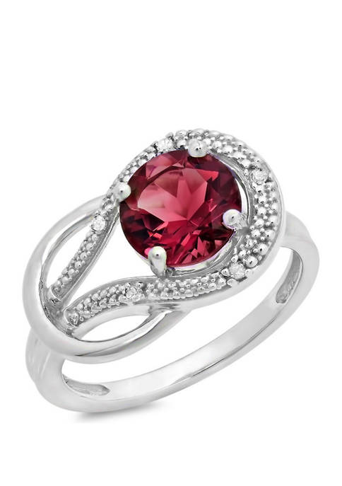 10K White Gold Garnet and 2 ct. t.w. Diamond Accent Ring
