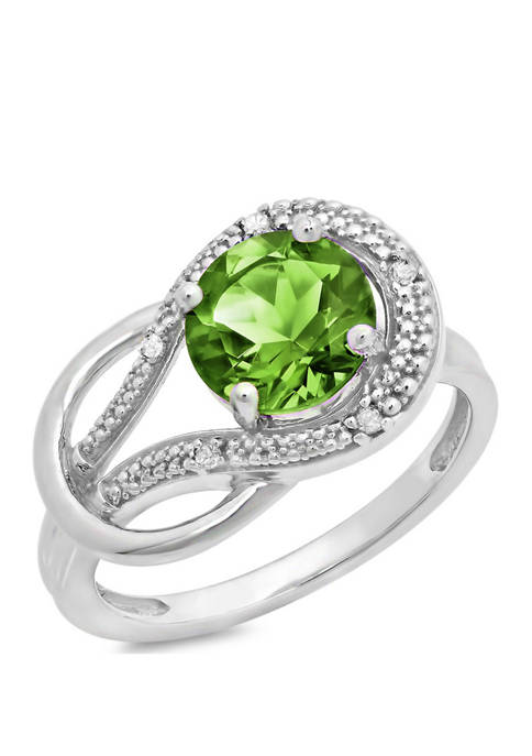 10K White Gold Peridot and 1.7 ct. t.w. Diamond Accent Ring