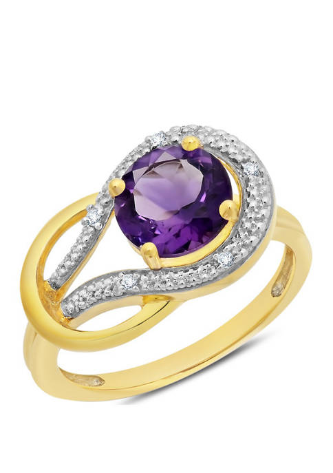 Belk & Co. 10K Yellow Gold Amethyst and