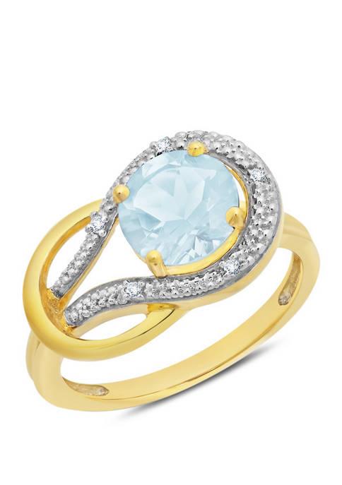 10K Yellow Gold Aquamarine and 1.7 ct. t.w. Diamond Accent Ring