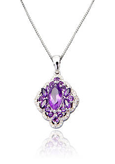 Belk & Co. Sterling Silver Amethyst and Diamond Cluster Pendant