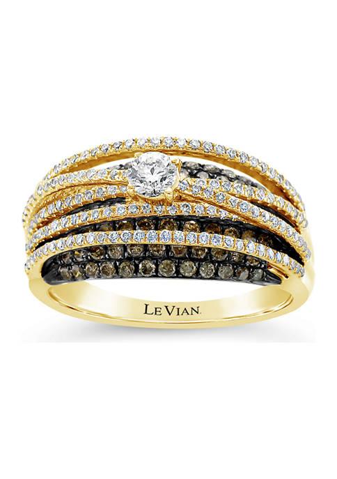 Chocolatier® Ring featuring 1.19 ct. t.w. Vanilla Diamonds®, Chocolate Diamonds® set in 14K Honey Gold™