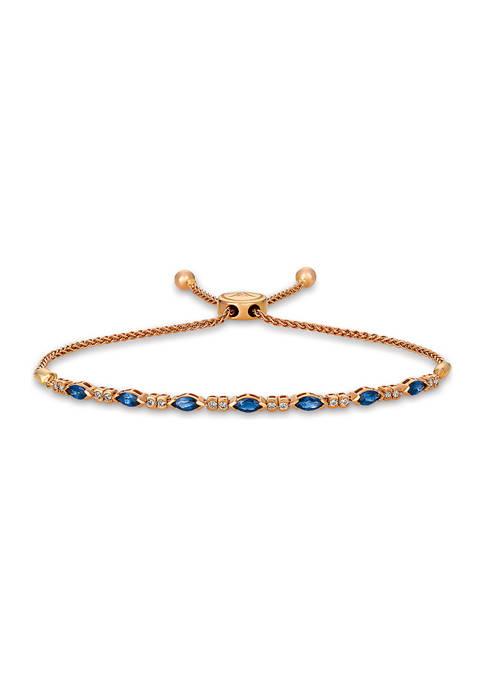 1/5 ct. t.w. Diamond and 1 ct. t.w. Sapphire Bolo Bracelet in 14K Strawberry Gold®