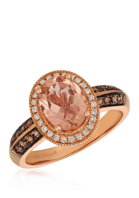 3/8 ct. t.w. Chocolate Diamond and 1/2 ct. t.w. Vanilla Diamond Morganite RIng on 14K Rose Gold