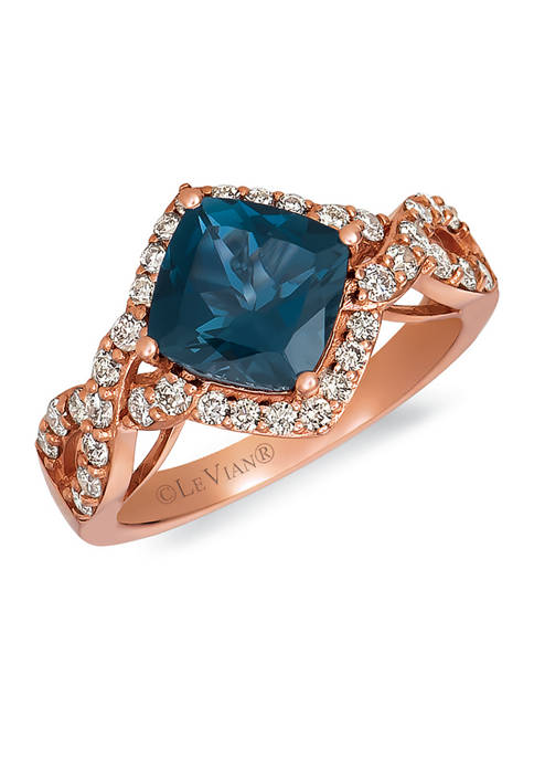 2.2 ct. t.w. Deep Sea Blue Topaz™, 1/2 ct. tw. Nude Diamonds™ Ring in 14K Strawberry Gold®