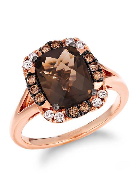 Ring with 2.63 ct. t.w. Chocolate Quartz®, 1/5 ct. t.w. Chocolate Diamonds®, 1/8 ct. t.w. Nude Diamonds™ in 14K Strawberry Gold®