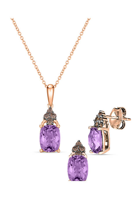 1/5 ct. t.w. Vanilla Diamond® and 2.75 ct. t.w. Amethyst Earrings and Pendant Necklace Set in 14K Strawberry Gold®