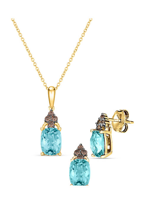 1/5 ct. t.w. Vanilla Diamond® and 2.4 ct. t.w. Aquamarine Pendant Necklace and Earrings Set in 14K Honey Gold™
