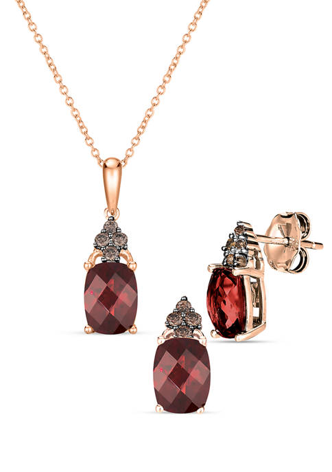 1/10 ct. t.w. Diamond and 3.85 ct. t.w. Rhodolite Pendant Necklace and Earrings Set in 14K Honey Gold™