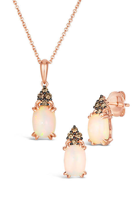 1/5 ct. t.w. Vanilla Diamond® and 1.75 ct. t.w. Opal Earrings and Pendant Necklace Set in 14K Strawberry Gold®