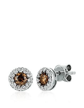 Chocolatier 1 3 Ct T W Chocolate Diamonds And 5 Vanilla Stud Earrings In 14k Gold