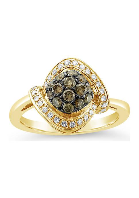 Chocolatier® Ring with 1/2 ct. t.w. Chocolate Diamonds® and Vanilla Diamonds® in 14K Honey Gold™
