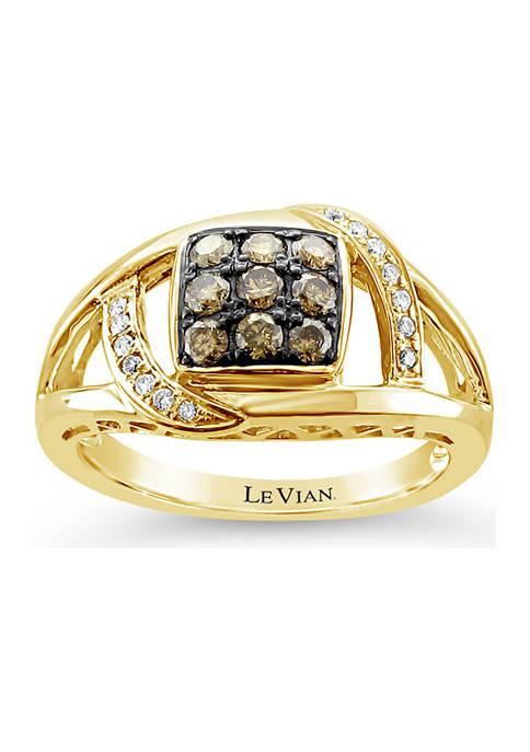 Chocolatier® Ring with 3/8 ct. t.w. Chocolate Diamonds® and Vanilla Diamonds® in 14K Honey Gold™