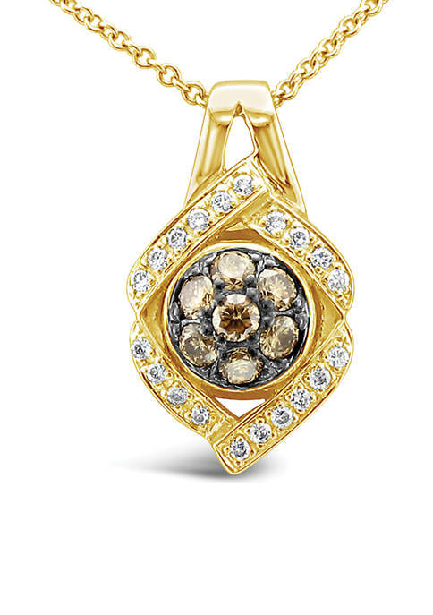 Pendant Necklace with 1/3 ct. t.w. Chocolate Diamonds® and Vanilla Diamonds® in 14K Honey Gold™