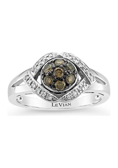Ring with 3/8 ct. t.w. Chocolate Diamonds® and Vanilla Diamonds® in 14K Vanilla Gold®