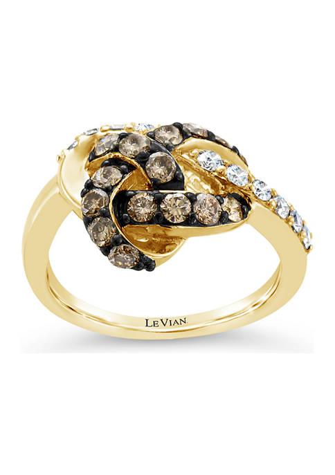 Chocolatier® Ring with 1 ct. t.w. Chocolate Diamonds® and Vanilla Diamonds® in 14K Honey Gold™