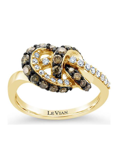 Chocolatier® Ring with 3/4 ct. t.w. Chocolate Diamonds® and Vanilla Diamonds® in 14K Honey Gold™