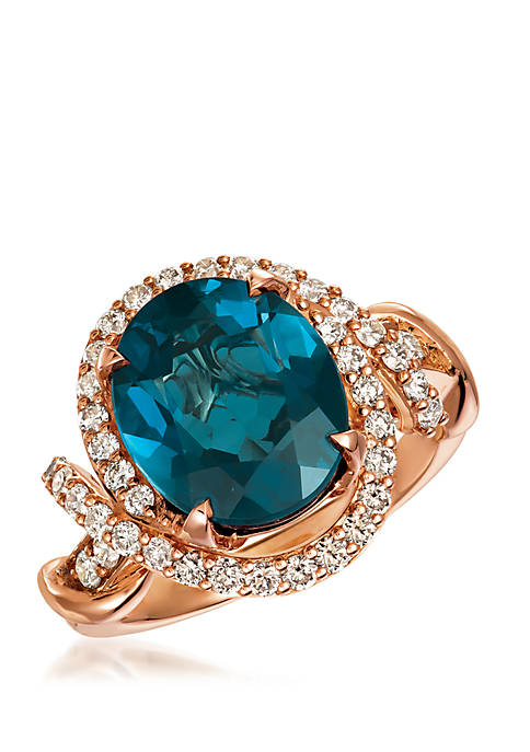 Creme Brulee® Ring featuring 5 1/3 ct. t.w. Deep Sea Blue Topaz™, 3/4 ct. t.w. Nude Diamonds™ set in 14K Strawberry Gold®