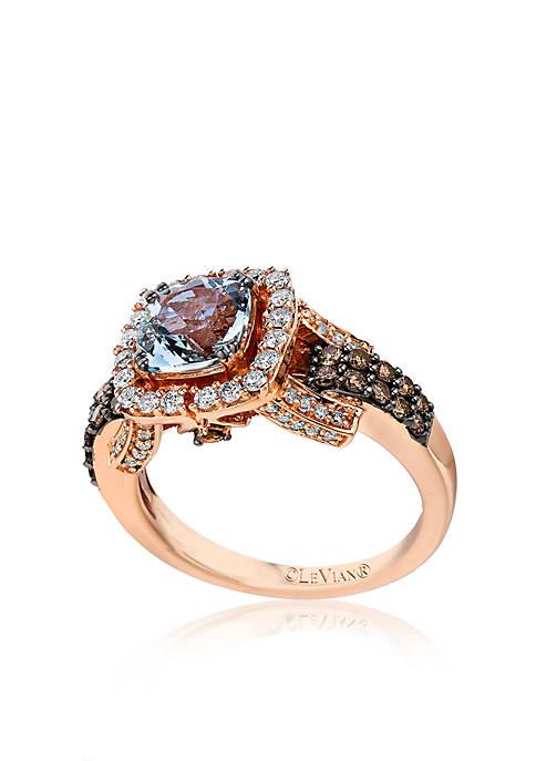 14k Strawberry Gold® Sea Blue Aquamarine®, Chocolate Diamond®, and Vanilla Diamond® Ring - Belk Exclusive