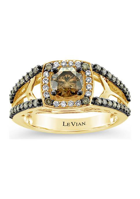 Ring with 1.23 ct. t.w. Chocolate Diamonds® and Vanilla Diamonds® in 14K Honey Gold™