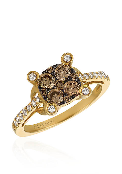 Chocolatier® Chocolate Diamonds® and Vanilla Diamonds® Cluster Ring in 14K Honey Gold™