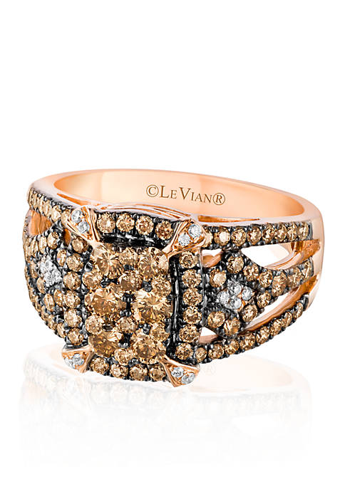 Chocolate Diamond® and Vanilla Diamond® Ring in 14k Strawberry Gold® - Belk Exclusive