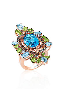 Ocean Blue Topaz®, Green Apple Peridot®, and Chocolate Quartz™ Ring in 14k Strawberry Gold™