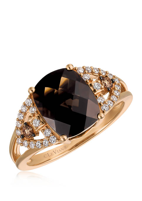 1/2 ct. t.w. Chocolate Diamond, 1/10 ct. t.w. Vanilla Diamond, and Quartz Ring on 14K Rose Gold