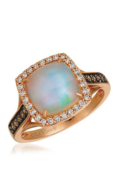 1 7/8 ct. t.w. Neopolitan Opal™, 1/8 ct. t.w. Chocolate Diamonds®, 1/5 ct. t.w. Vanilla Diamonds® Ring in 14K Strawberry Gold®