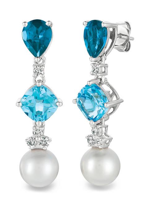Earrings featuring 2.17 ct. t.w. Deep-Sea Blue Topaz™, 1.75 ct. t.w. Blue Topaz, 1.75 ct. t.w. Blue Topaz, Vanilla Pearls™, and 1/3 ct. t.w. Vanilla Diamonds® in 14K Vanilla Gold®