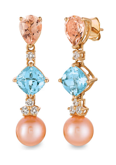 Earrings with 2.33 ct. t.w. Sea Blue Aquamarine®, 1.5 ct. t.w. Peach Morganite™, Strawberry Pearl®, 1/3 ct. t.w. Vanilla Diamonds® in 14K Strawberry Gold®