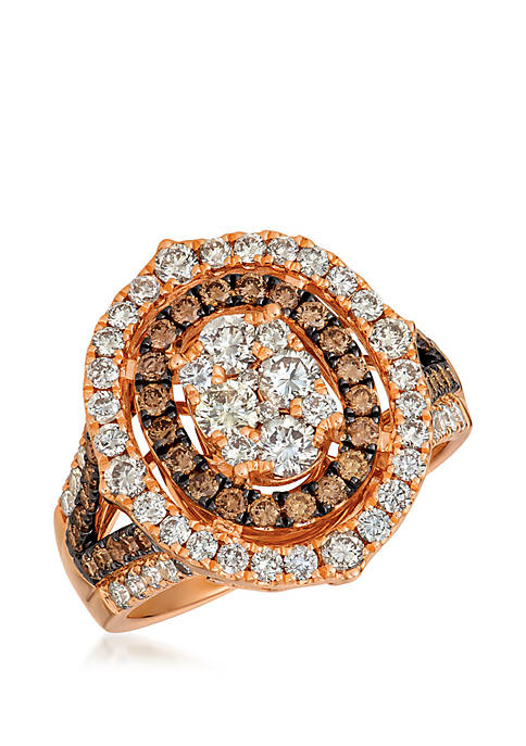 Creme Brulee® 1.33 ct. t.w. Nude Diamonds™, 5/8 ct. t.w. Chocolate Diamonds® Ring in 14k Strawberry Gold®