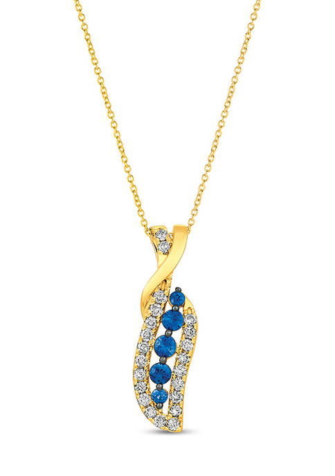 1/2 ct. t.w. Blueberry Sapphire™ and 1/2 ct. t.w. Nude Diamonds™ Pendant Necklace in 14K Honey Gold™
