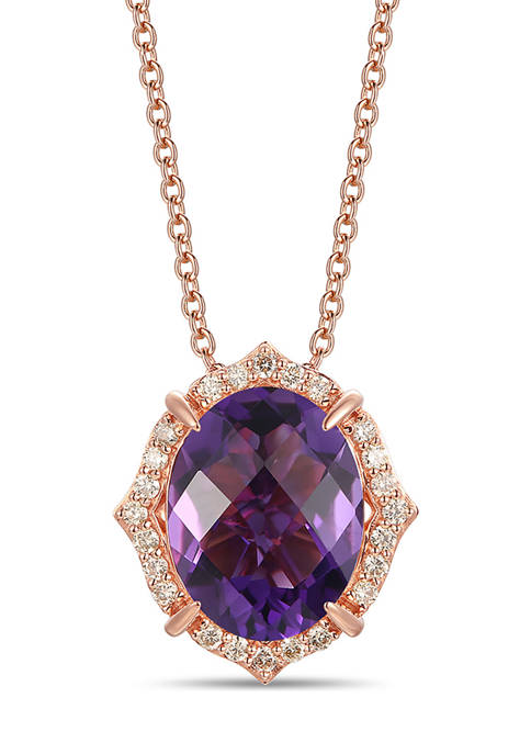 Pendant Necklace with 4.25 ct. t.w. Dark Amethyst, 1/5 ct. t.w. Nude Diamonds™ in 14K Strawberry Gold®