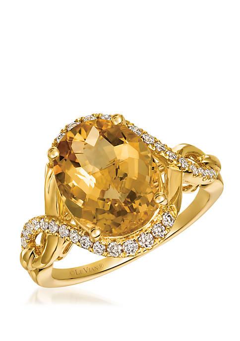 Creme Brulee® 4.0 ct. t.w. Cinnamon Citrine®, 1/3 ct. t.w. Nude Diamonds™ Ring in 14K Honey Gold™