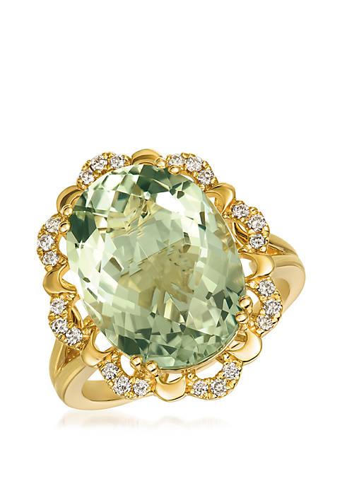 Creme Brulee® 8.75 ct. t.w. Mint Julep Quartz™, 1/5 ct. t.w. Nude Diamonds™ Ring in 14k Honey Gold™