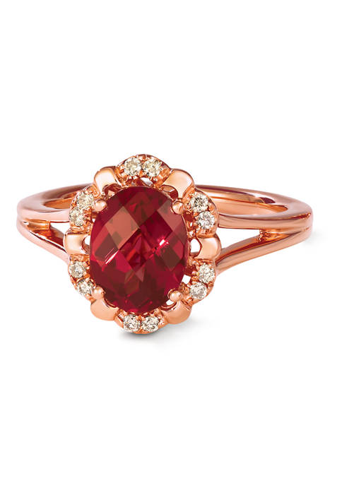 Ring with 1.87 ct. t.w. Raspberry Rhodolite®, 1/10 ct. t.w. Nude Diamonds™ in 14K Strawberry Gold®