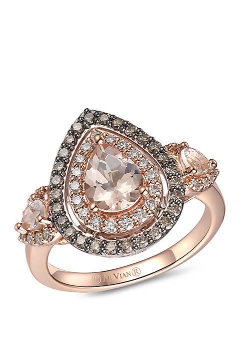 Creme Brulee® 1.0 ct. t.w. Peach Morganite™, 1/3 ct. t.w. Chocolate Diamonds®, 1/3 ct. t.w. Nude Diamonds™ Ring in 14k 2-Tone Gold