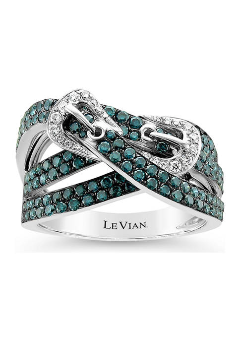 Exotics® Ring with 1.54 ct. t.w. Blue Diamonds and Vanilla Diamonds® in 14K Vanilla Gold®