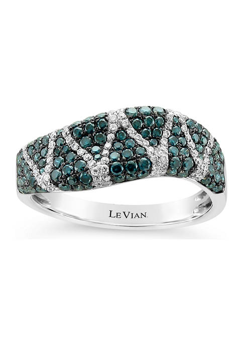Exotics® Ring with 7/8 ct. t.w. Blue Diamonds and Vanilla Diamonds® in 14K Vanilla Gold®