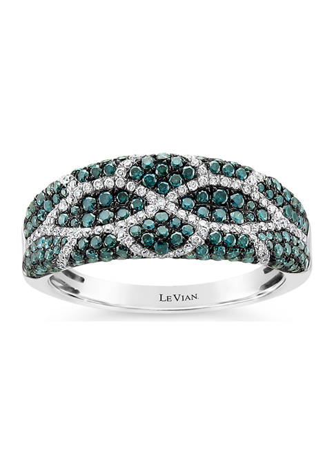 Exotics® Ring with 1 ct. t.w. Blue Diamonds and Vanilla Diamonds® in 14K Vanilla Gold®